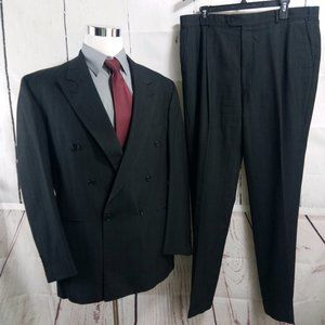 Botany 500 Athletic Fit Double Breasted Gray Suit